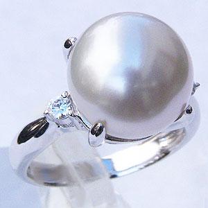 真珠:パール:リング:南洋白蝶真珠:12mm:ピンクホワイト系:ダイヤモンド:0.10ct:PT900:プラチナ:指輪