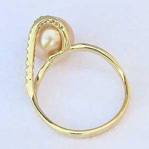 真珠 指輪 パール リング 南洋真珠 ゴールデンパールリング K18ゴールド ダイヤモンド ジュエリー