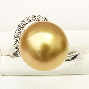 ブライダル リング パール 指輪 南洋真珠パールリング PT900プラチナ ダイヤモンド