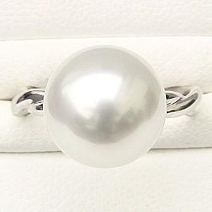 ブライダル リング パール 指輪 南洋真珠パールリング PT900 プラチナ ダイヤモンド