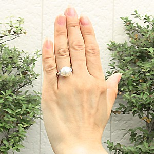 ブライダル リング パール 指輪 南洋真珠パールリング PT900プラチナダイヤモンド