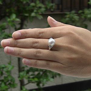 パール:南洋白蝶真珠:ダイヤモンド0.23ct:PT900:プラチナ900:リング:ピンクホワイト系:10mm:ラウンド形:指輪