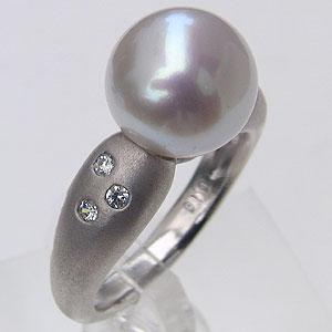 パール:南洋白蝶真珠:ダイヤモンド0.1ct:K18WG:ホワイトゴールド:リング:ピンクホワイト系:10mm:ラウンド形:指輪:ダイヤモンド0.10ct