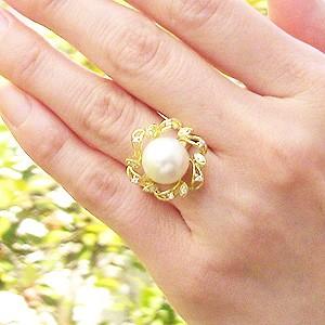真珠パール 6月誕生石  リング 南洋白蝶真珠 ピンクホワイト系 径12mm ゴールド K10 ゴールド 10金 指輪