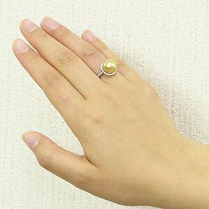 真珠,パール,南洋白蝶真珠,リング,ゴールド系,11mm,K18WG,ホワイトゴールド,ダイヤモンド,ダイヤ,指輪,18金ホワイトゴールド