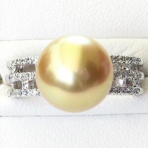 パール:真珠:指輪:南洋白蝶真珠:11mm:ゴールド系:K18WG:ホワイトゴールド:ダイヤモンド:リング