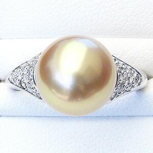 真珠:パール:リング:南洋白蝶真珠:指輪:ゴールド系:ゴールデンパール:11mm:ダイヤモンド:PT900:プラチナ