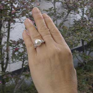真珠パール リング 南洋白蝶真珠 K18WG ホワイトゴールド 直径11mm ピンクホワイト系 ダイヤモンド 22石 合計0.26ct 指輪
