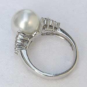 真珠パール リング 南洋白蝶真珠 K18WG ホワイトゴールド 真珠の径11mm ピンクホワイト系  ダイヤモンド 12石 0.60ct 指輪