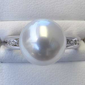 真珠パール リング 南洋白蝶真珠 PT900 プラチナ 真珠の径11mm ピンクホワイト系  ダイヤモンド 8石 0.15ct 指輪