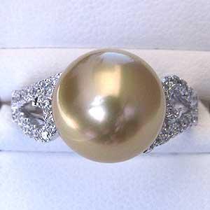 真珠パール リング 南洋白蝶真珠 K18WG ホワイトゴールド  真珠の直径11mm ゴールド系 ダイヤモンド 26石 合計0.17ct 指輪 リング