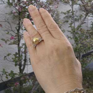 真珠パール リング 南洋白蝶真珠 PT900 プラチナ 真珠の直径11mm ゴールド系 ダイヤモンド 26石 合計0.17ct 指輪 リング