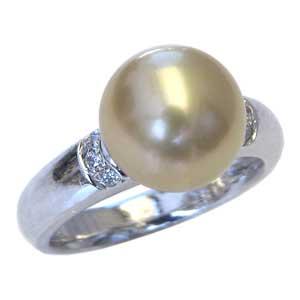 真珠パール リング 南洋白蝶真珠 K18WG ホワイトゴールド 真珠の直径10mm ゴールド系 ダイヤモンド 6石 合計0.08ct 指輪 リング