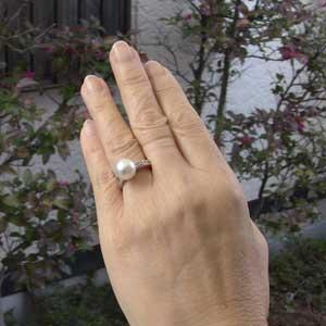 真珠パール リング 南洋白蝶真珠 K10WG ホワイトゴールド 直径10mm ホワイトピンク系 ダイヤモンド 6石 合計0.10ct 指輪