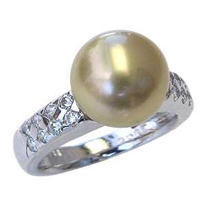 真珠パール リング 南洋白蝶真珠 K10WG ホワイトゴールド 真珠の直径10mm ゴールド系 ダイヤモンド 16石 合計0.36ct 指輪 リング