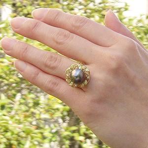 真珠:パール:リング:タヒチ黒蝶真珠:12mm:グリーン系:ダイヤモンド:0.12ct:K18:ゴールド:指輪:ブラックパール