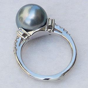 ブラックパール:黒真珠:指輪:タヒチ黒蝶真珠:10mm:パール:リング:PT900:プラチナ:ダイヤモンド:0.21ct:真珠