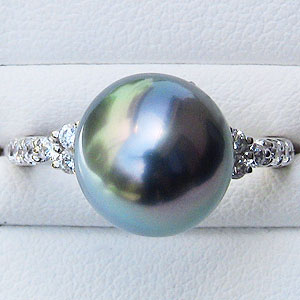 ブラックパール:黒真珠:指輪:タヒチ黒蝶真珠:10mm:パール:リング:PT900:プラチナ:ダイヤモンド:0.22ct:真珠