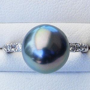 ブラックパール:黒真珠:指輪:タヒチ黒蝶真珠:10mm:パール:リング:K18WG:ホワイトゴールド:ダイヤモンド:0.17ct:真珠