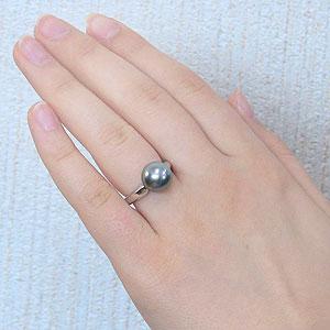 黒真珠:ブラックパール:リング:タヒチ黒蝶真珠:10mm:ライトグリーン系:K18WG:ホワイトゴールド:パール:真珠:指輪
