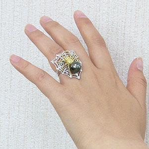 ブラックパール:黒真珠:指輪:タヒチ黒蝶真珠:11mm:リング:K18WG:ホワイトゴールド:K18:ゴールド:18金:ダイヤモンド:クモ:蜘蛛:スパイダー