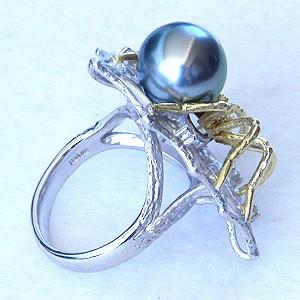 ブラックパール:黒真珠:指輪:タヒチ黒蝶真珠:10mm:リング:Pt900:プラチナ:K18:ゴールド:18金:ダイヤモンド:クモ:蜘蛛:スパイダー