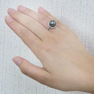 黒真珠:ブラックパール:リング:タヒチ黒蝶真珠:11mm:真珠:パール:グリーン系:ダイヤモンド:0.22ct:PT900:プラチナ:指輪
