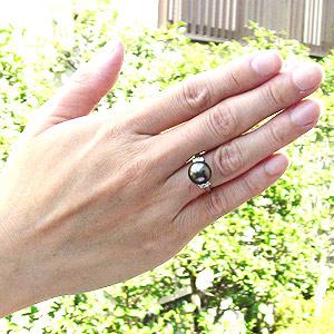 真珠:パール:リング:タヒチ黒蝶真珠:指輪:グリーン系:10mm:Pt900:プラチナ:冠婚葬祭