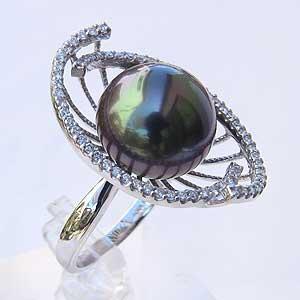 タヒチ黒蝶真珠リング:K18WG:指輪