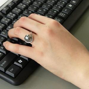 タヒチ黒蝶真珠:リング:ダイヤモンド:パール:グリーン系:11mm:K18WG:ホワイトゴールド:指輪