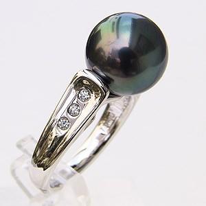 タヒチ黒蝶真珠:リング:ダイヤモンド:パール:グリーン系:11mm:PT900:プラチナ:指輪