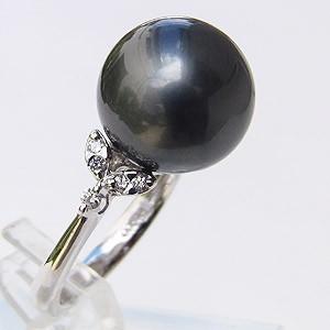 タヒチ黒蝶真珠:リング:PT900:プラチナ