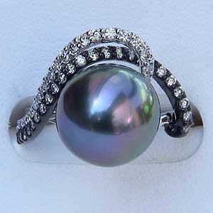 タヒチ黒蝶真珠:K18WG:ホワイトゴールド:11mm:グリーン系:指輪:ダイヤモンド