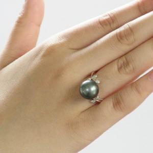 タヒチ黒蝶真珠:PT900:リング:約11mm:グリーン系:ラウンド形