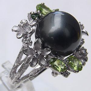 タヒチ黒蝶真珠:ダイヤモンド:0.08ct:K18WG:ホワイトゴールド:リング:パール:12mm:グリーン系:ラウンド形:指輪