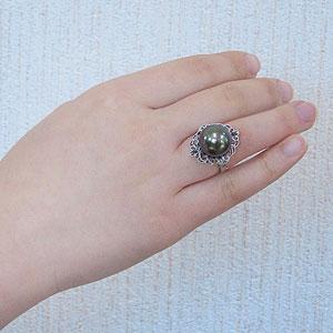 真珠:ブラックパール:指輪:タヒチ黒蝶真珠:13mm:ピーコック系:黒真珠:ブラックダイヤモンド:0.20ct:K18WG:ホワイトゴールド:アンティーク:リング