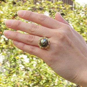 真珠:パール:リング:タヒチ黒蝶真珠:13mm:ピーコック系:ダイヤモンド:0.12ct:K18:ゴールド:指輪:ブラックパール
