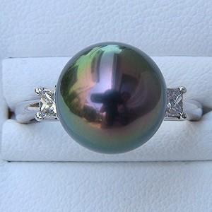 タヒチ黒蝶真珠:リング:ダイヤモンド:パール:ピーコック系:11mm