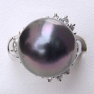 タヒチ黒蝶真珠:リング:ダイヤモンド:パール:レッドグレー系