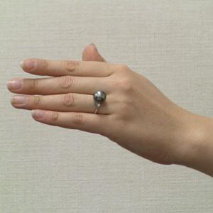 タヒチ黒蝶真珠:リング:ダイヤモンド:パール:グレー系