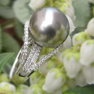 リング パール 指輪 黒真珠パールリング K10ホワイトゴールド ダイヤモンド