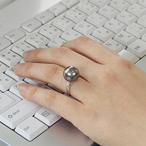 リング パール 指輪 黒真珠パールリング PT900 プラチナ ダイヤモンド