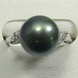 真珠:パール:指輪:リング:タヒチ黒蝶真珠:11mm:グリーン:ダイヤモンド:PT900:プラチナ