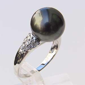 タヒチ黒蝶真珠:リング:PT900:パール:グリーン系:約11mm