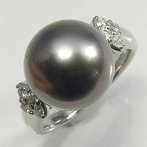 真珠:パール:指輪:リング:タヒチ黒蝶真珠:12mm:グレー:ダイヤモンド:PT900:プラチナ