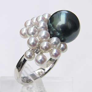 タヒチ黒蝶真珠:あこや本真珠:ダイヤモンド:リング:K18WG:ホワイトゴールド