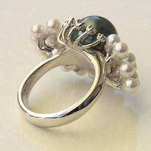 タヒチ黒蝶真珠:あこや本真珠:リング:K18WG:ホワイトゴールド