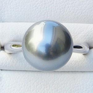 黒真珠:ブラックパール:リング:タヒチ黒蝶真珠:11mm:ブルーグレー系:K18WG:ホワイトゴールド:パール:真珠:指輪
