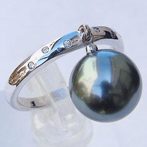 真珠:ブラックパール:指輪:タヒチ黒蝶真珠:10mm:グリーン系:K18WG:ホワイトゴールド:リング:ダイヤモンド:0.03ct