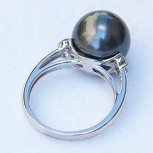 真珠:パール:リング:タヒチ黒蝶真珠:指輪:グリーン系:ブラックパール:11mm:Pt900:プラチナ:ダイヤモンド:0.13ct